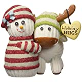 The Socking's by Pavilion Holiday Hugs Gift, Snowman Hugging Moose, 4-Inch