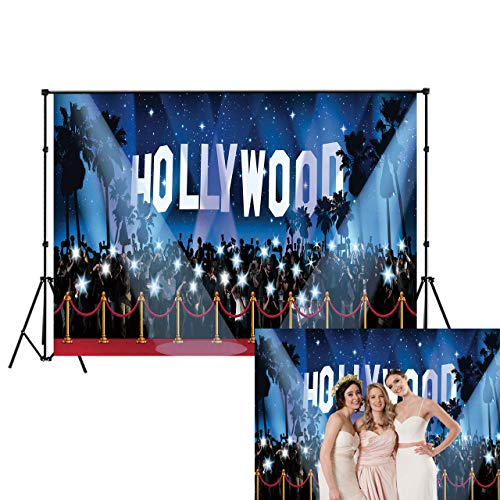 LB Hollywood Backdrop Red Carpet Photo Backdrop for Photoshoot 7x5ft Vinyl Movie Awards Night Ceremony Birthday Party Event Dress-up Portraits Photo Booth Backdrop -