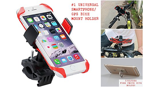 Delux Universal Bike mount for SmartPhones/GPS with Gold Ring Phone Holder and Hook