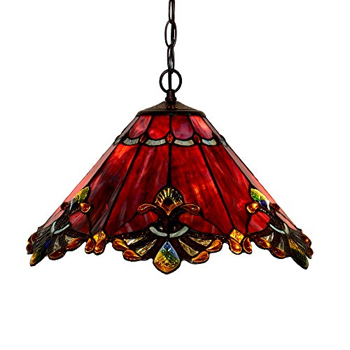 Stained Glass Ceiling Fixture (Bieye L10059 17-inches Baroque Tiffany Style Stained Glass Ceiling Pendant Fixture (Red))