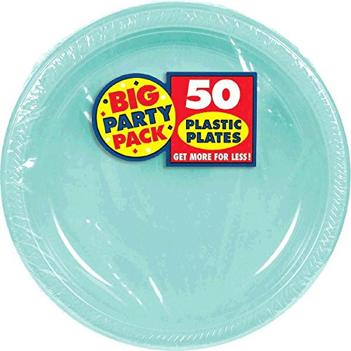 Amscan Reusable Round Robin's Egg Blue Plastic 10'' Pack 50 Party Supplies , 300 Pieces by Amscan