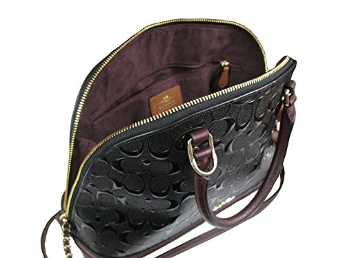 Im SATCHEL LEATHER COACH DEBOSSED SIERRA IN Oxblood PATENT SIGNATURE Black F55449 8wZaxZ1