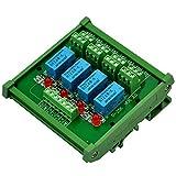 Electronics-Salon DIN Rail Mount 4 DPDT Signal Relay Interface Module, DC 24V Version.