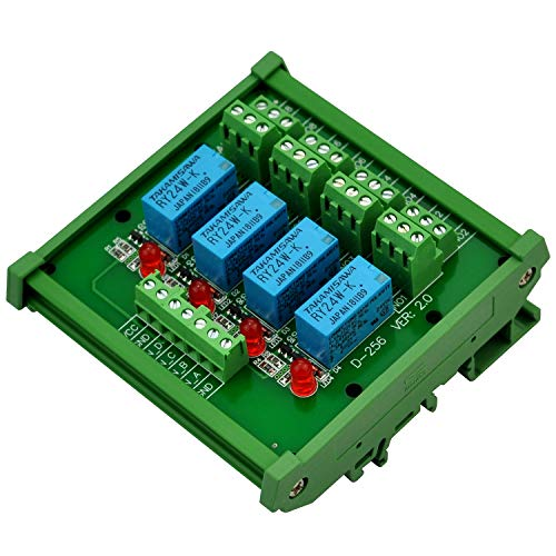 (Electronics-Salon DIN Rail Mount 4 DPDT Signal Relay Interface Module, DC 24V Version.)