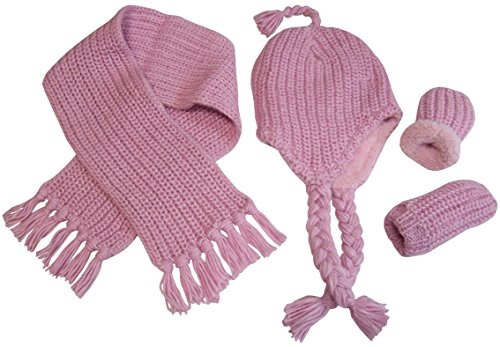 N'Ice Caps Little Girls and Infants Geo Design Cable Knit 3PC Fleece Lined Set (Pink 1 - Infant, 6-18 Months)