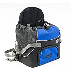 2PET Doggie Pocket, Front Nylon Pet Carrier Backpack Dog Travel Bag, for Small Dog or Cat Animal Carry Adjustable Tote Pouch - Bonny Blue