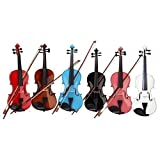 GLARRY 4/4 Full Size Acoustic Violin (Violin + Case + Bow + Rosin) - Random Color