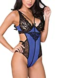 Elapsy Womens Sexy Lace Teddy Lingerie One Piece Babydoll Bodysuit Blue and Black Small