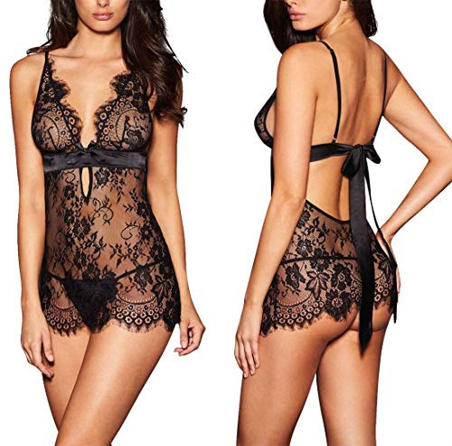 AnloveKiss Women Sexy Lingerie Black Eyelash Lace Chemise Babydoll Nightwear Set See-Through...