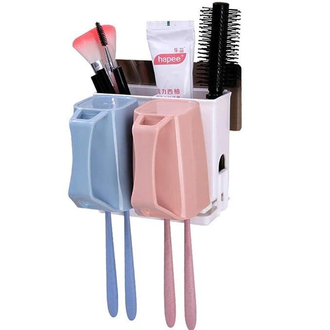 ZDYSGLV Soporte de Cepillo de Dientes montado en la Pared del baño, Que Incluye 3 Tazas de Soporte de Pasta de Dientes sin Taladro, B [Calificación ...