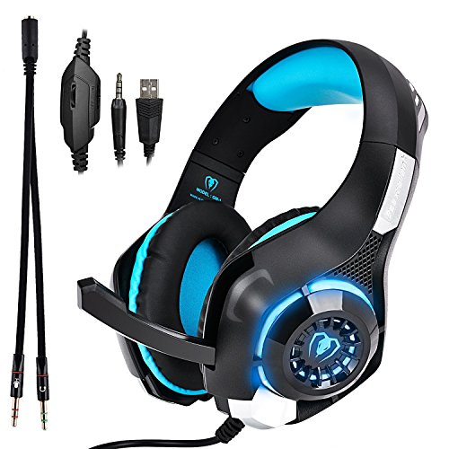 (Beexcellent GM-1 Over-Ear Wired 3.5mm Pro Gaming Headset Surround Sound Gaming Headphone with LED Effect and Microphone for PC, Laptop, Tablet, PS4, Xbox, Cell Phone (Blue))