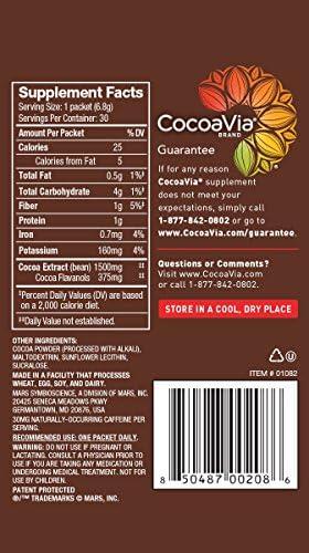 CocoaVia Brain  Heart Supplement Sweetened Dark Chocolate Flavor Powdered Mix 375mg Cocoa Flavanols