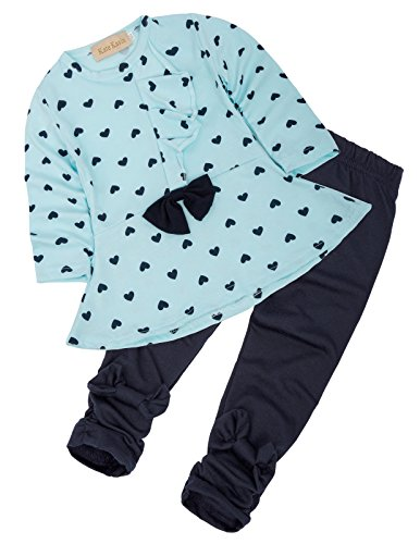Girls 2PCS Outfit Long Sleeve Printed T-Shirt + Black Pants Cute Clothes Set 90 CL1001-1