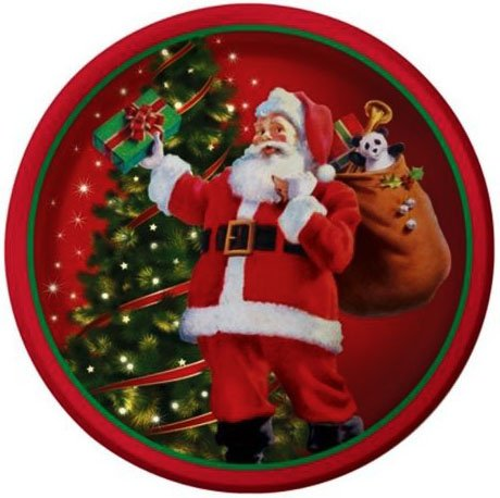 Custom   Unique  7  Inch  8 Count Multi Pack Set Of Medium Size Round Circle Disposable Paper Plates W  Santa Clause Holding Present Christmas X Mas Tree Celebration  Red  White   Green Colored