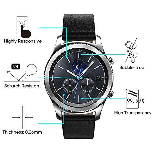 Protector de pantalla de cristal templado OMOTON Compatible con Samsung Gear S3 /Galaxy Watch 46mm [3 Pack]