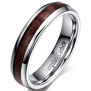 Tungsten Carbide Rings Wedding Engagement Band Rings with Koa Wood Inlay for Womens and Mens Comfort Fit Size -5