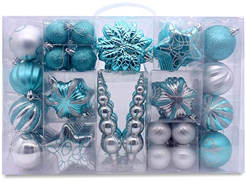 AUXO-FUN 73ct Assorted shatterproof Christmas Ornaments Luxury Collection Set in Reusable Hand-held Gift Package for Christmas Tree Decoration (Turquoise & Silver) Blue Green Silver Christmas Trees