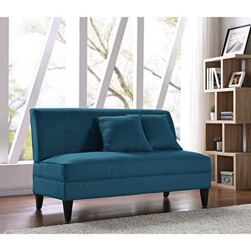 Handy Living Courtney Peacock Blue Linen Armless Loveseat