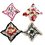 4 PCS Women's Large Satin Square Silk Scarf,Women's Fashion Charm Scarf (style 4)