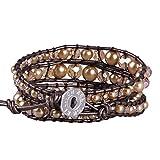 KELITCH Gold Pearl Crystal Beaded 3 Wrap Bracelet Original Leather Bracelet Top Jewelry (Gold)