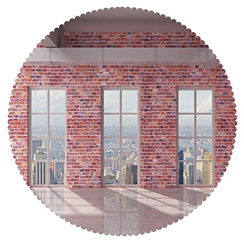iPrint Round Tablecloth [ Modern Decor,Red Brick Wall Loft Interior with Windows to City Urban Contemporary Design,Multicolor ] Decorative Tablecloth Ideas