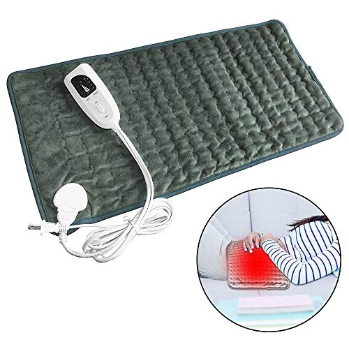 (Heating Pad, TEEPAO Ultra-Soft Kneck Heating Pad for Back Pain/Menstrual/Cramps/Foot, Safety Certificate Portable Electric Heating Mat Reusable, Rapid Heating Technology, 24'' x 12'' (Dark Green) )