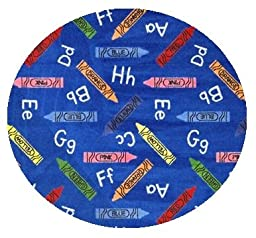 Crayons Blue Multi - 3\' ROUND Custom Stainmaster Premium Nylon Carpet Area Rug ~ Bound Finished Edges