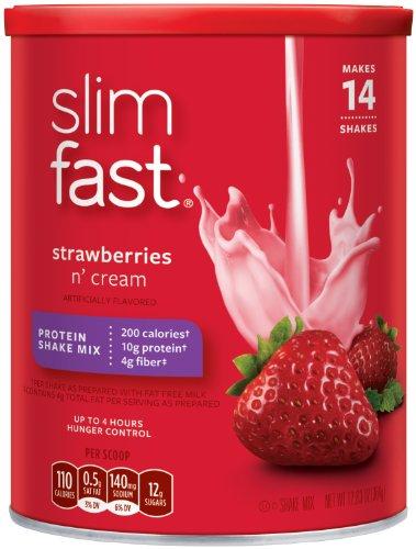 Slim Fast STRAWBERRY SUPREME Shake Mix 12.83oz (5 Pack)