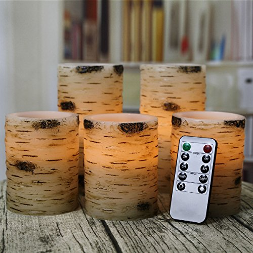 Pandaing Set of 5 Pillar Birch Bark Effect Flameless LED Candles with 10-key Remote Control and 2 4 6 or 8 Hours Timer Function by Pandaing (Image #3)'