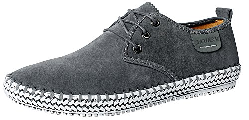 MOHEM Men's Poseidon Suede Leather Casual Walking Shoes Fashion Sneakers(16801Gray46)