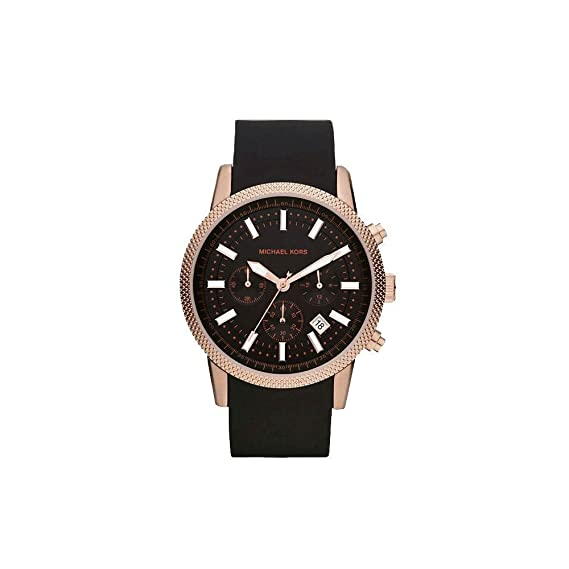 3387664d66a5 Michael Kors MK8244 Men s Scout Rose Gold Tone Black Silicone Strap Chronograph  Watch  Amazon.ca  Watches