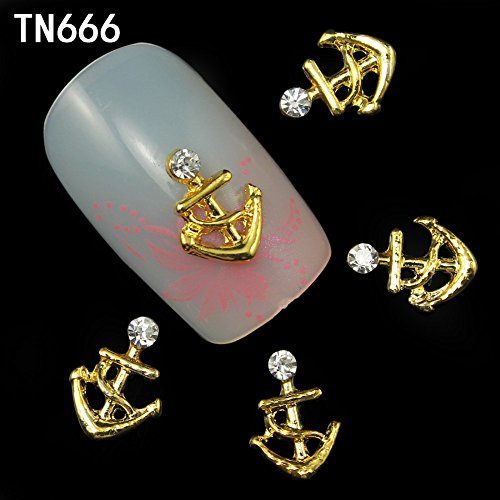 10Pcs Nail Art Decoration Gold Anchor Shape Glitter Rhinestone 3D Nail Studs Tools Accessories Jewelry Manicure - Gold 3d Anchor Charm