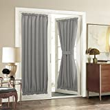Aquazolax Solid Noise Reducing Energy Saving Rod Pocket Blackout Patio Door Curtain Panel with Tieback, 1 Piece, 54 by 72-Inch, Grey