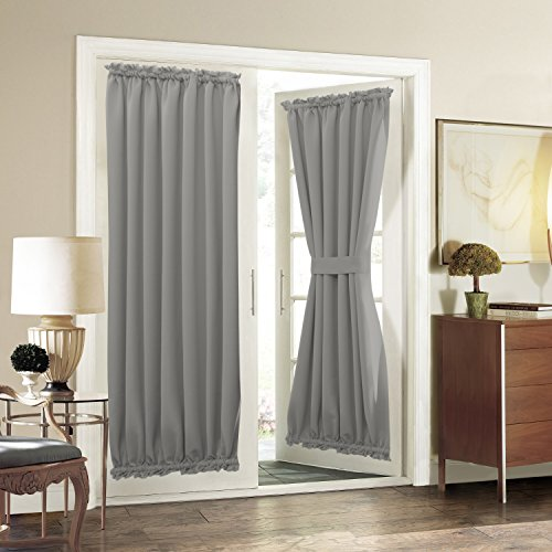 Blackout Patio Door Curtain Panel - Aquazolax Blackout Solid Door Panel 54 by 72-Inch Heavy Duty Window Drape with Rod Pocket - 2 Panels, Grey (Window Treatment For Patio Doors)