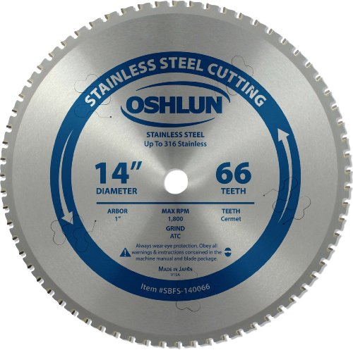 Oshlun SBFS-140066 14-Inch 66 Tooth Saw Blade with 1-Inch Arbor for Stainless Steel
