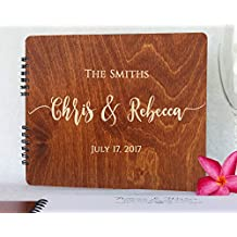 """Wooden Wedding Guest Books Personalized (11""""x8.5"""", Oak Wood Stain) Rustic Charm Custom Wedding Polaroid Album 5th Anniversary Party Guest Register Guestbook Made in USA"""