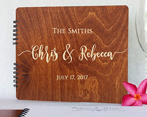 "Wooden Wedding Guest Books Personalized (11""x8.5"", Oak Wood Stain) Rustic Charm Custom Wedding Polaroid Album 5th Anniversary Party Guest Register Guestbook Made in USA"