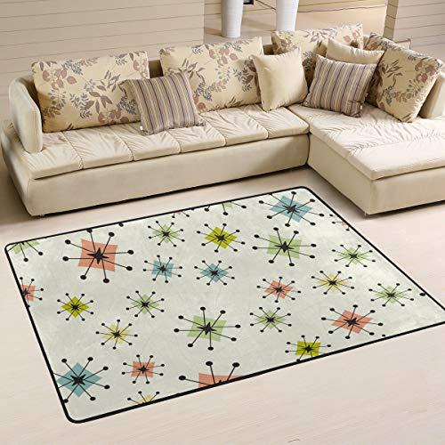 Vintage Atomic Stars Retro Area Rugs 4'x6' Modern Doormat Home Outside Inside for Bedroom Living Room Floor Mat Non Slip Indoor