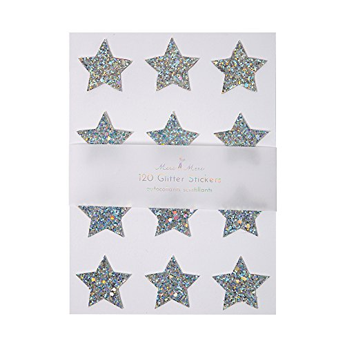 Meri Meri Chunky Silver Holographic Glitter Star Embellished Stickers - 10 Sheets Per Pack (Bell Silver Stickers)