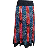 Mogul Interior Women's Peasant Skirt Pleated Printed Tiered Long Maxi M/L