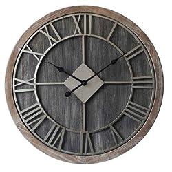 Concepts Big Home Wall Clock Big Roman Numerals Dark Wood Metal Dials Stunning Decor Features 28''