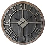 Concepts Big Home Wall Clock Big Roman Numerals Dark Wood Metal Dials Stunning Decor Features 28''
