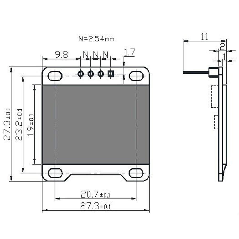 5PCS 0.96 OLED Display Module IIC 128 x 64 Pixel 12864 OLED White I2C 0.96inch OLED Display IIC Serial with SSD1306 Chip for Arduino UNO Raspberry Pi