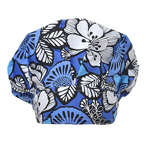 (Opromo Cotton Bleach Friendly Banded Adjustable Scrub Cap Sweatband Bouffant Hat-Blue Printed)