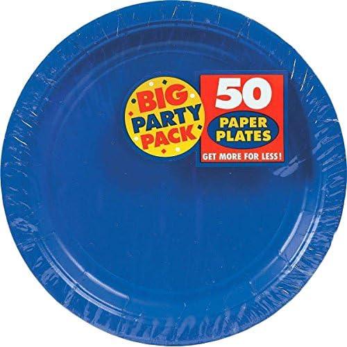 3パックの50Amscan 9インチBright Royal Blue Big Party Pack用紙ディナープレートバンドルby Maven Gifts