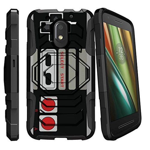 MINITURTLE Case Compatible w/ Moto E (3rd Gen) Hard Case| Motorola Moto E3 Case| Moto G4 Play Case[Armor Reloaded] Rugged Impact and Stand Heavy Duty Game Controller Retro For Sale