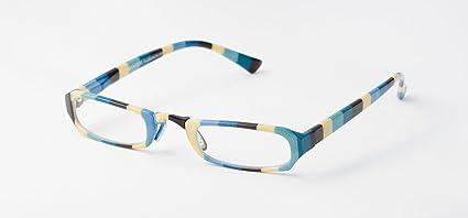Loudspecs Moon Dog +1.5 Occhiali da vista fantasia a strisce blu bianco verde funky unisex DQCutWhWk