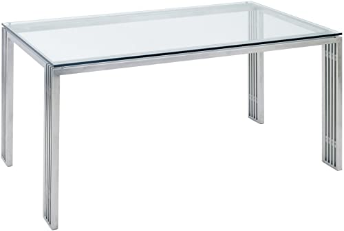 Nuevo Quasi Glass Top Dining Table in Silver