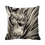 tamengi Lona de algodón cuadrados de calaveras gritando Manta Decorativa Funda de almohada Funda de cojín, #01