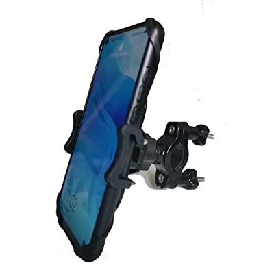 "Motorcycle Phone Mount, Phone Mount for Bike, 360 Degree Rotation, Compatible with iPhone SE, 11,X |XR |XS, 8 | 8 Plus, 7 | 7 Plus, 6s Plus | Galaxy, S10, S9, S8, Holds Phones Up to 3.7"" Wide"